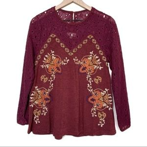 Entro Embroidered Eyelet Detail Burgundy Blouse
